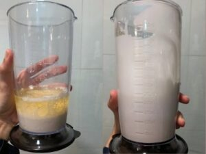 before and after making vegan mayo