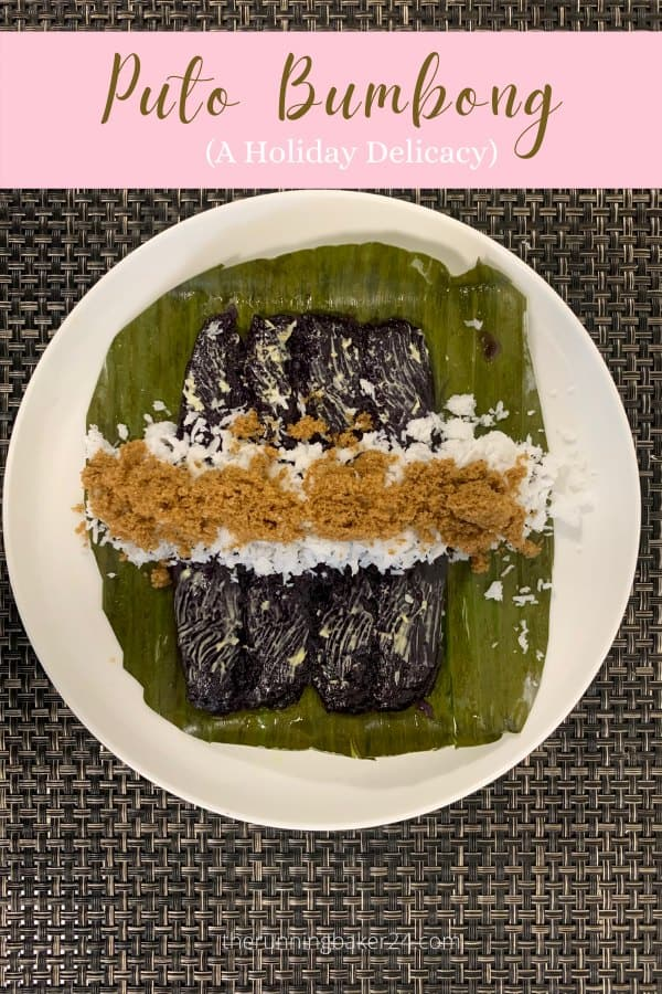 Puto Bumbong without bamboo steamer on a white plate