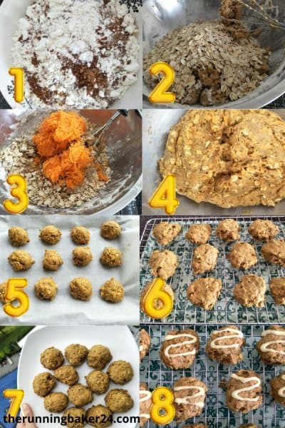 step by step image of carrot oatmeal cookies